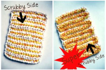 Recycled Mesh Produce Bag Crocheted Dish Scrubber