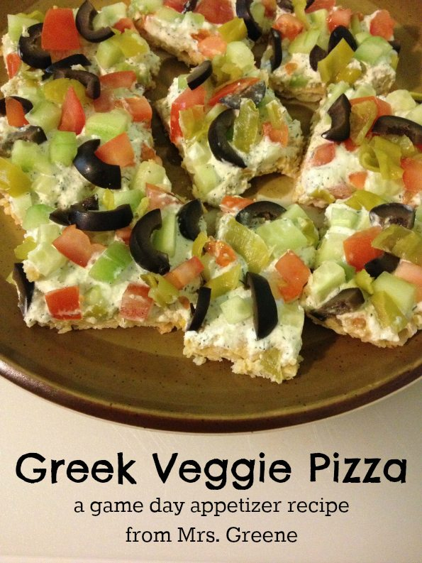 Recipe: Greek Veggie Pizza (plus more game day appetizers!)