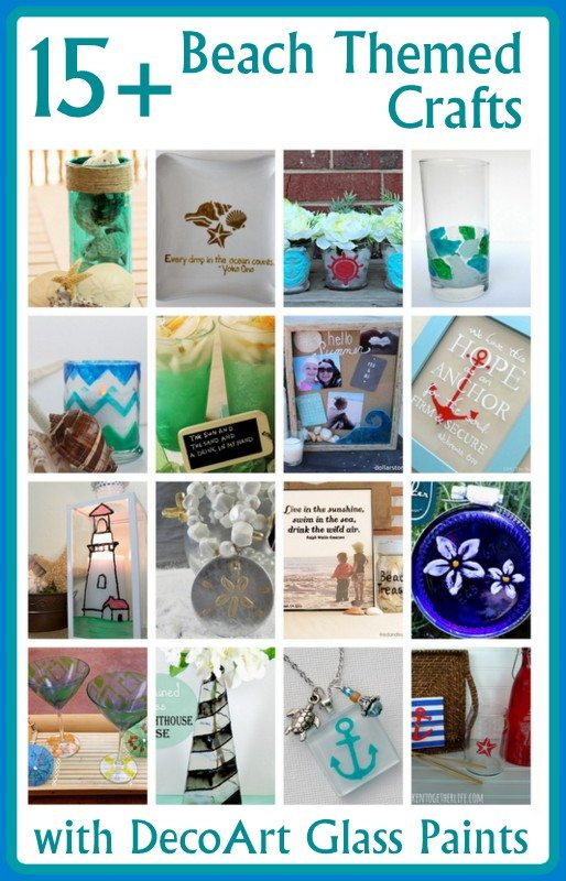15+ beach themed crafts with DecoArt glass paint