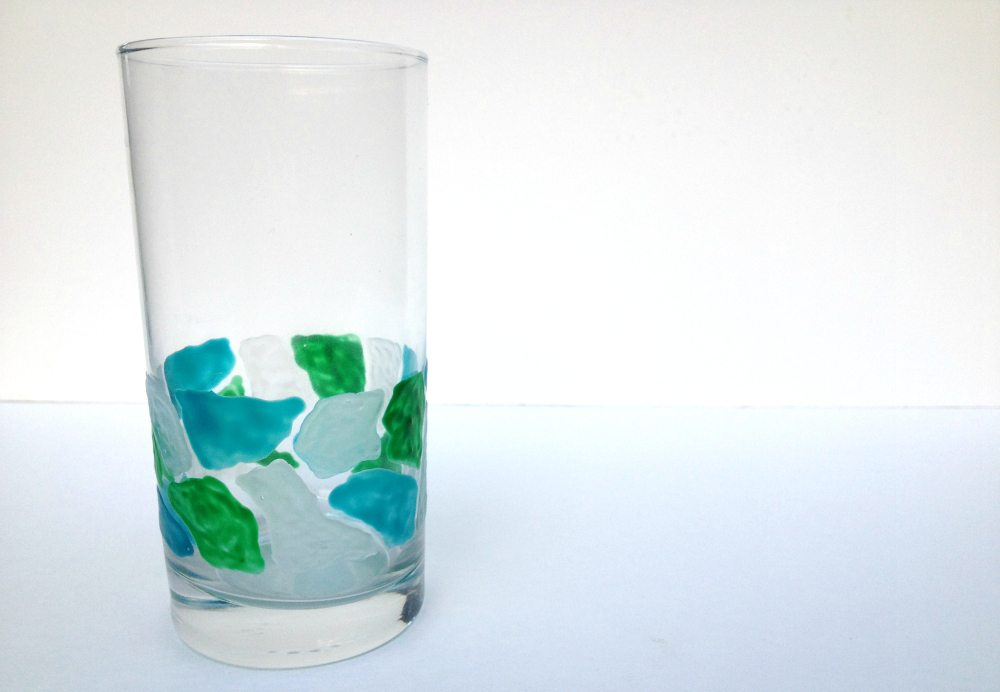 faux beach glass mosaic glassware