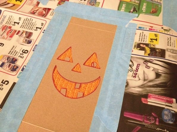 Jack-o-lantern stenciled towel