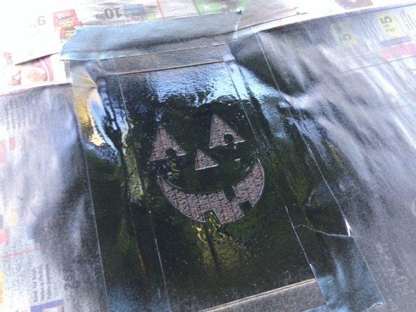 stenciled Halloween towel
