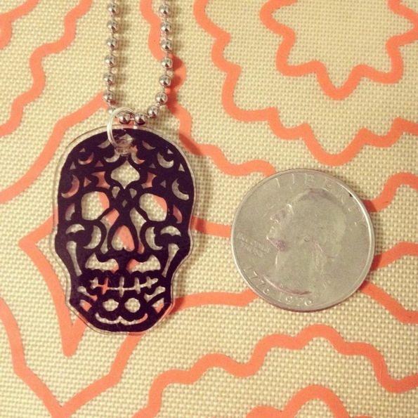 shrink plastic sugar skull pendant necklace