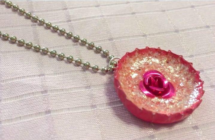 Enameled Bottle Cap Necklace