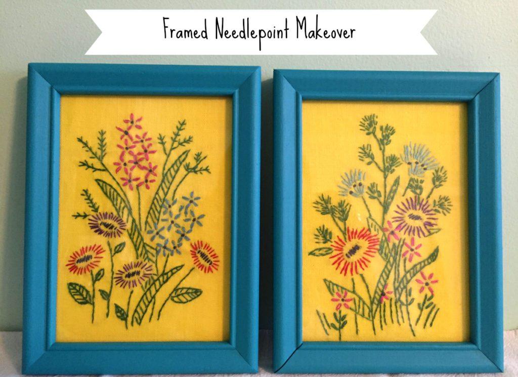 framed needlepoint makeover