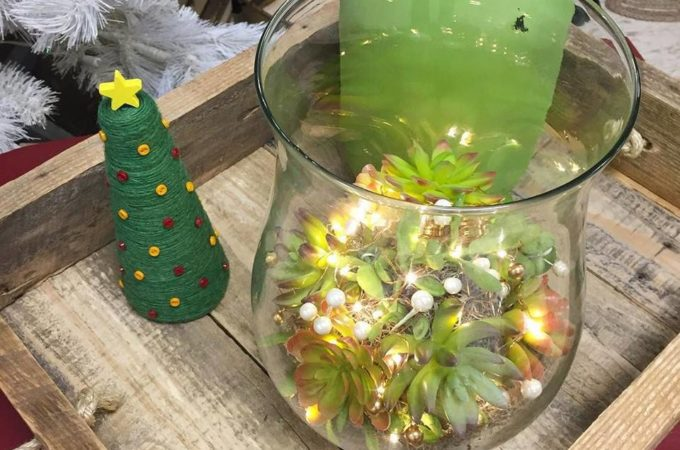 Faux Succulent & Fairy Light Centerpiece